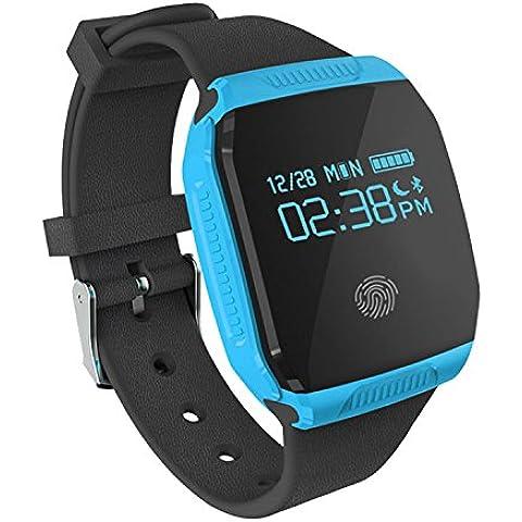 COOSA inteligente Muñequera E07S (E07 Mejor) pulsera de sincronización Actividad Salud impermeable GPS rastreador de ejercicios Bluetooth para Android y Smart Band IOS (azul,