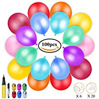 100 Globos de Fiesta de Diversos Colores, KimKo Globos de Látex con Bomba y Cintas, Globos y Decoraciones para Cumpleaños, Fiestas, Bodas, Propuestas, Reuniones y Otras Celebraciones