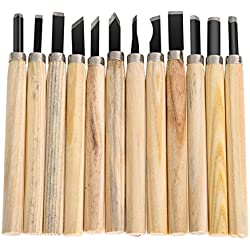 Okayji Hand Wood Carving Chisels Knife for Basic Woodcut Working DIY Hand Tool 12Pcs/Set
