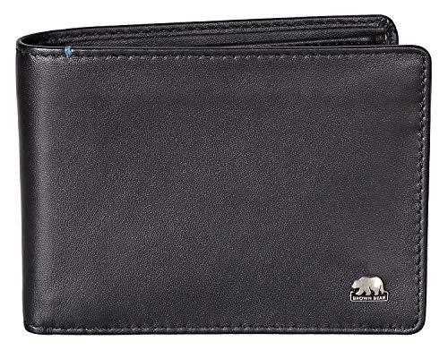 Brown Bear Business Geldbörse Herren klein Leder Farbe Schwarz mit RFID Schutz hochwertig Männer...