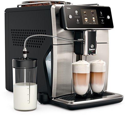 Saeco Xelsis SM7683/00 Macchina da Caffè Automatica, con Macine in Ceramica, 15 Bevande, Filtro AquaClean, Coffeee Equalizer e Display Touch, Caraffa Latte Esterna, Frontale in Acciaio Inox