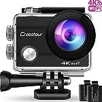 """Action Cam 4K Unterwasserkamera Action Kamera Wifi Crosstour Wasserdicht Sports Cam Ultra Full HD 2"""" LCD 170°Ultra Weitwinkel 30M Helmkamera mit 2 Batterien und kostenlose Accessoires"""
