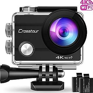 Crosstour Action Cam 4K WiFi Sports Kamera Helmkamera 30M Wasserdicht Unterwasserkamera Ultra HD 2″ LCD 170° Weitwinkelobjektiv mit 2 Batterien und kostenlose Accessoires