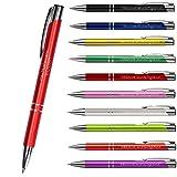 Premium Qualität - Personalisierter Kugelschreiber mit Gravur   Stift mit Name Einzeilig oder Zweizeilig (Rot)