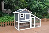 WestWood Wooden Pet Rabbit Bunny Chicken Guinea Hutch House Shelter 2 Tier Large Coop Run WPH01 Grey White