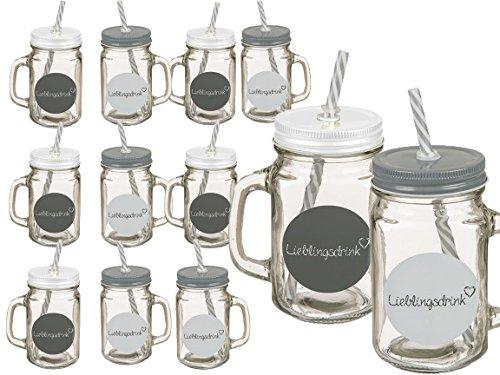Bada Bing 12er Set Trinkgläser Sprüche Lieblingsdrink Herz Glas Mit Deckel und Strohhalm In Grau Weiß Sommer Garten 99