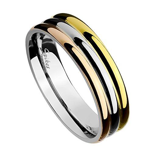 Piersando Damen Band Ring Edelstahl Poliert Vergoldet Damenring Bandring Trauring Tricolor Silber Gold Rosegold Größe 58 (18.5)