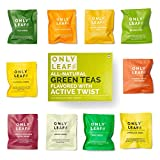 #3: Only Leaf Green Tea Sampler Box | 10 Flavored Green Tea varieties | Whole Leaf Teabags | No Brokens, No Dust, No Fannings