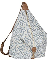 """SIX """"Trend"""" blaue Damen Handtasche Beutel Rucksack Reißverschluss weißer Canvas mit Ikat Muster Triangel Form (463-180)"""