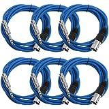 """Seismic Audio Seismic 6 Pack Blue 1/4"""" TRS XLR Male 10' Patch Cables Blue - SATRXL-M10Blue6"""