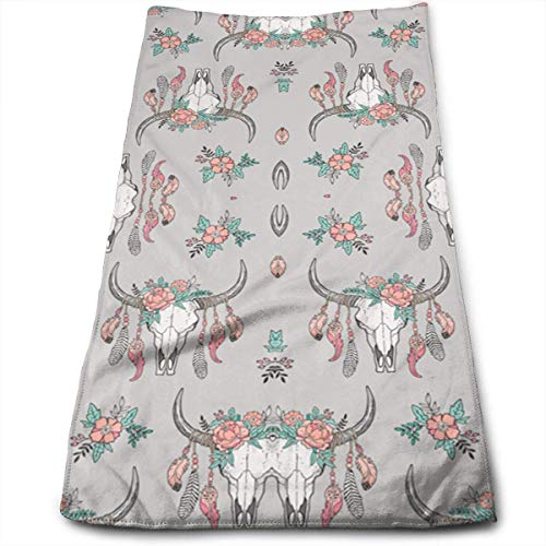 2019 New Boho Longhorn Cow Skull(2593) Soft Polyester Large Hand Towel- Multipurpose Bathroom Towels for Hand, Face, Gym and Spa (18 16 X Ofen-rack)