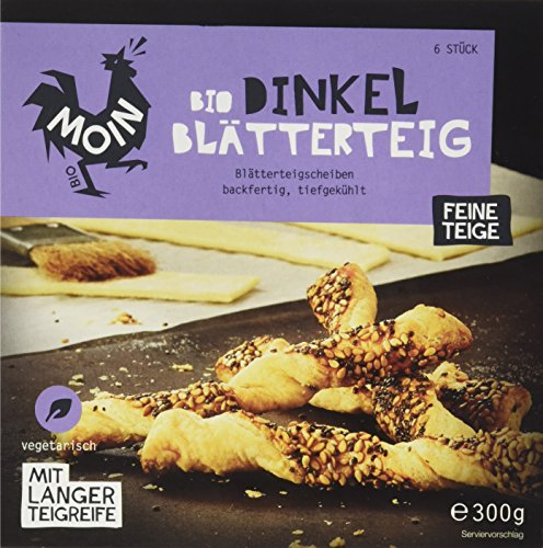 Moin Bio Dinkel Blätterteig in Scheiben, backfertig, 300 g (Tiefgefroren)