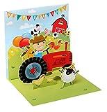 Pop UP 3D Kinder Geburtstag Mini Grußkarte PopShot Traktor Bauer 7,6x7,6cm
