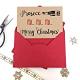 Luxus Kraft Weihnachtskarten Prosecco HO HO HO MERRY CHRISTMAS mit dicken Qualität Briefumschläge, Pack of 6 cards Kraft