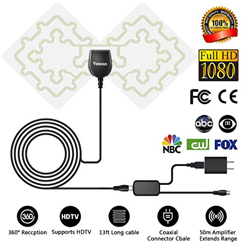 HDTV-Antenne, 1080P Digital-TV-Antenne HD Zimmerantenne mit mit Signal Verstärker, mit 13ft Kable, F Male-Stecker