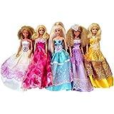 Elviros 100% Hecho a Mano Barbie Muñeca Vestido Dress Disfraz [Paquete de 5 piezas] Viene en Random