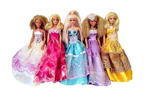 Elviros 100% Handgemachtes Barbie Puppen Kleid (Zufallsauswahl) 5 Stück (Disney-puppe Kleid-set)