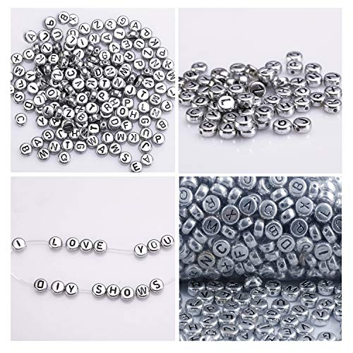Alphabet Buchstaben Spacer Perlen 1000 Stück - 6x6mm mit Silber Beschichtet - Rund Perlen für Armbänder Auffädeln, Halsketten, Schlüsselanhänger und KinderSchmuck - Perfekt für Tauf-Zeremonie (Alphabet Perlen Silber)