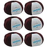 Merinowolle zum Häkeln * Merino Wolle bordeaux (Fb 4) * 6 Knäuel dunkelrote Wolle zum Stricken - Wolle Mix + GRATIS MyOma Label - 50g/120m - MyOma Wolle - weiche Wolle - Merinogarn
