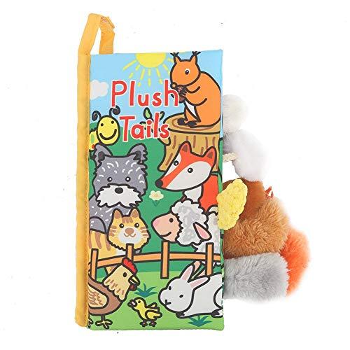 Tails Cloth Book, Soft Baby Activity Crinkle Die tierischen Früherziehungsbücher für Kinder(Gelber Fuzzy) -