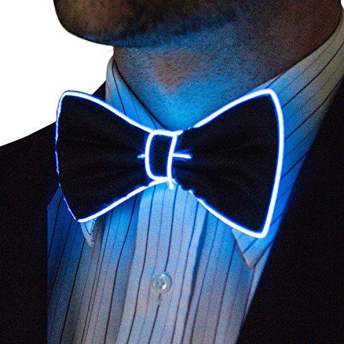 Kostüm Up Light Rave - NEON NIGHTLIFE Herren Light Up Fliege, Blau