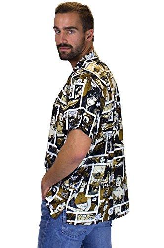 King Kameha Funky Camicia Hawaiana da Uomo   XS - 6XL   Maniche Corte   Tasca Frontale   Stampa Hawaiana   Comico  Vari Colori monosepia