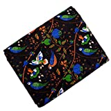 #9: Shopolics Black-Orange and Green Bird Design Cotton Kalamkari Fabric-5536 for Party Wear, Dress Material (2.5 Meter)