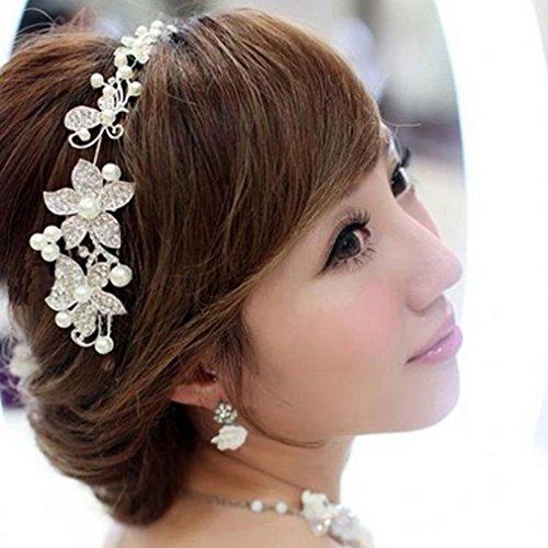 LnLyin Braut Schmuck Hochzeitskleid Braut Kopfschmuck Kette Hochzeit Haar Ornamente
