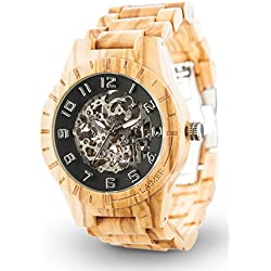 LAiMER Automatic Woodwatch RICK | olivewood | 100% natural product from South Tyrol | as light as a feather, hypoallergenic, sustainable