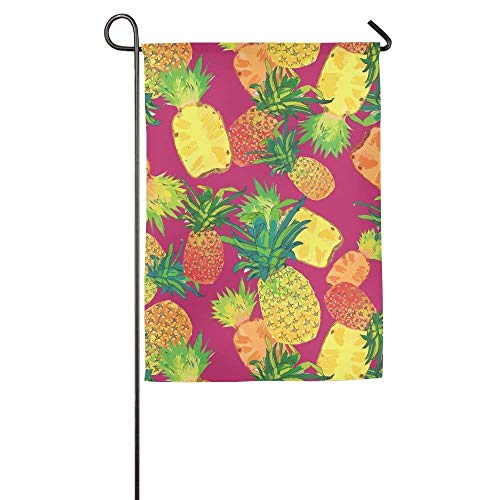 Desing shop Tropical Fruit Pineapple Pattern Garden Flag Indoor & Outdoor Decorative Flags for Parade Sports Game Family Party Wall Banner 12.5x18 inches (Outdoor Decorative Flag Pole)