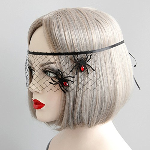 Hosaire 1 Pcs Halloween Carnival Make-up Party Black Hollow Spider Net Princess Ladies Mask Decoration Props