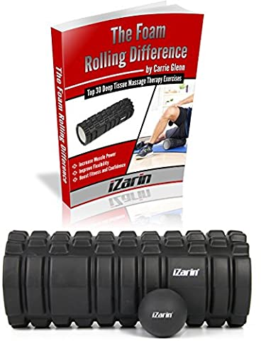 iZarin® Foam Roller for Muscle Massage + Lacrosse Ball + Exercise Ebook / Therapy for Deep Pain Relief in your Aching Legs & Body. Ideal for Runners, Cyclist, CrossFit, Yoga, Pilates - Value Pack of 3