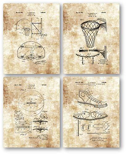 Ramini Brands Original Basketball-Patentkunst Zeichnung, 8 x 10 ungerahmte Kunstdrucke, tolles Geschenk für Trainer, Basketballspieler - Mancave, Büro und Spind Raumdekoration -