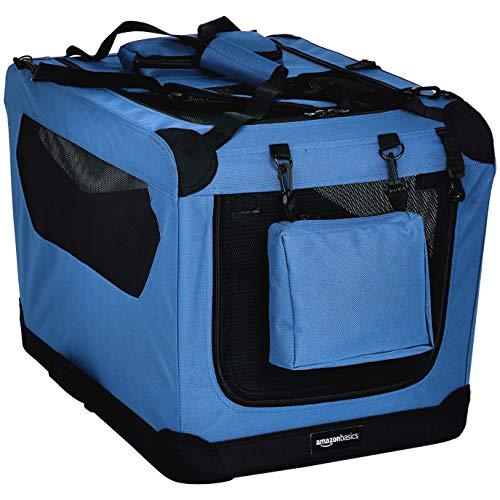 AmazonBasics - Trasportino morbido pieghevole per animali domestici, alta qualità, 66 cm, Blu