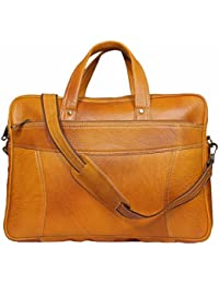Raicon Rust 15.6 Inch Genuine Leather Laptop Office Bag In Tan Color