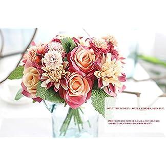 Seda Artificial Flor Artificial dalia Rosa Flores Falsas hoja Rosa Floral boda Ramo Decoración del Hogar del Partido