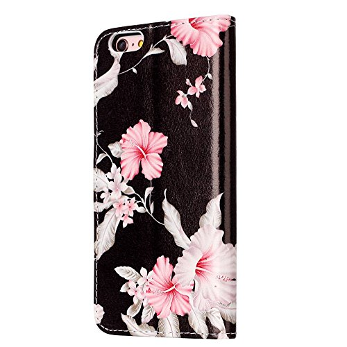 "MOONCASE iPhone 6 Plus/iPhone 6s Plus Hülle, [Colorful Pattern] Stoßfest Ganzkörper Schutzhülle mit Ständer Leder Handytasche Case für iPhone 6s Plus 5.5"" White Azalea"