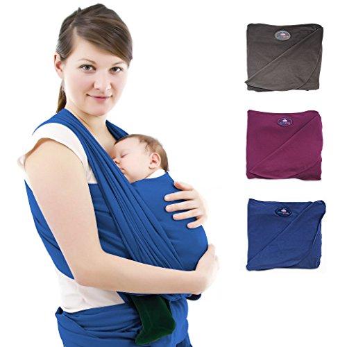 Premium Baby-Tragetuch aus 100% Baumwolle für Neugeborene und Kleinkinder | Hochwertiges Umhängetuch | Elastisches Kindertragetuch mit deutschsprachiger Anleitung für Bindetechniken (Hell-Blau)