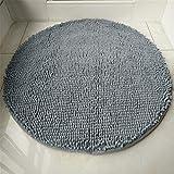 YA&YA2 Badteppich,Fußmatte, Wohnzimmer Schlafzimmer Badezimmer Runde Chenille-Teppichmatte Rutschfeste, saugfähige Waschbar (D = 140), Grau