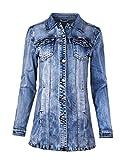 Fraternel Damen Jacke Mantel Lange Jeansjacke talliert Denim Jacket Blau XL / 42