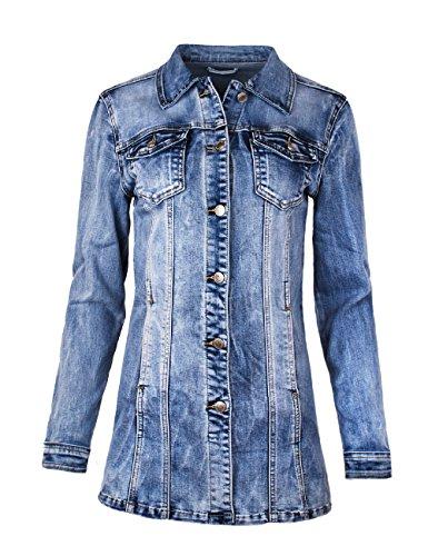 Fraternel Damen Jacke Mantel Lange Jeansjacke talliert Denim Jacket Blau M / 38