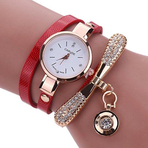 Sonnena Damen Armbanduhren, Mode Edelstahl Analoge Quarz Armbanduhr Frauen Metallband Damenuhr Frauen Armband Uhr Mode Strass Armbanduhren Wrist Watch (Rot)