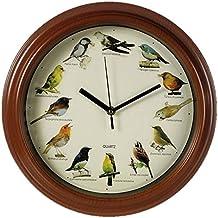 Out of the blue 79-3151 - Orologio da parete in plastica con i suoni di uccelli, diametro 33 cm