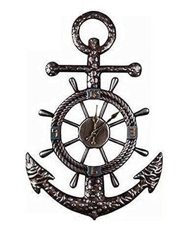 YANFEI Style européen moderne mutation fer forgé navire Spears horloge murale Accueil salon et bars cafés décor