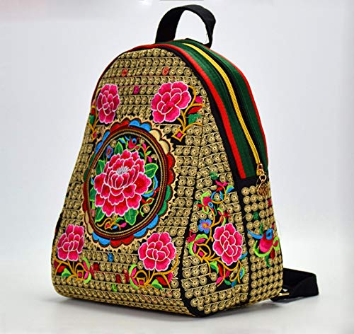 51WHjSAWU8L - Beibao shop Mochila China Yunnan Bolso Bordado étnico Lienzo de Doble Cara Mochila Bordado Estudiante Mochila Tamaño 24 * 16 * 32 cm