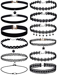 Choker Necklaces Set Lace Necklace Velvet Stretch Tattoo Choker, Black, 12 Pieces