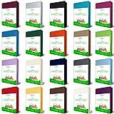 EllaTex Jersey Spannbettlaken 100% Baumwolle für WASSERBETTEN/BOXSPRINGBETTEN 180x200-200x220 + 40 cm Steghöhe in Farbe: Royal