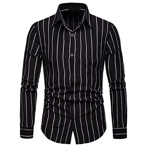 JMETRIC Casual Slim gestreiftes Herren Hemd Simple Joker Revers Langarmshirt(Schwarz,L)