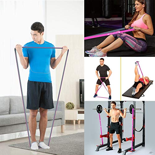 FITLETHIC Resistance Bands, Pull Up Assist Exercise Loop Bands (82 inches) with Door Anchor, Workout Guide and Carry Bag for Men & Women -Gym & Home Fitness Workout, Powerlifting,Stretching,Calisthenics (Pink (Light 7-15 kgs))