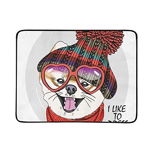 SHAOKAO Nette Haustiere mit Strickmütze und Schal-Muster tragbare und Faltbare Kuschel-Matte 60x78 Zoll handliche Matte für Camping Picknick Strand Indoor Outdoor-Reise